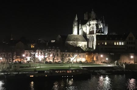 Auxerre cathedral in winter