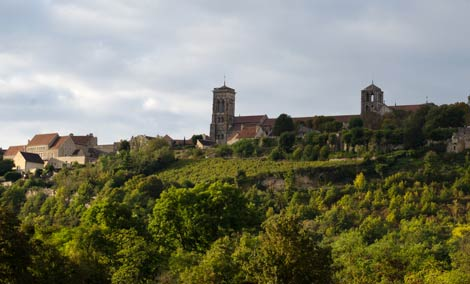 Vezelay basilica on hill